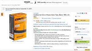 continental bike tube in the box 700x25